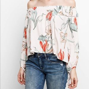 ASTR Chavelle Printed Off-The-Shoulder Top